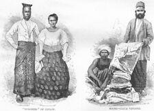 SRI LANKA. Burghers; Moors-Cloth-vendors 1880 old antique print picture