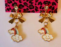 Betsey Johnson Crystal Rhinestone Enamel Post Earrings Ribbon Rainbow Clouds