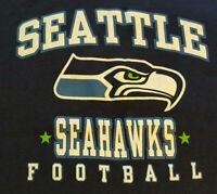 Seattle Seahawks Mens T Shirt L Large EUC NFL Football Blue Logo INV442