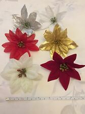 6x artificial poinsettia flower heads fake christmas flowers craft gold red etc