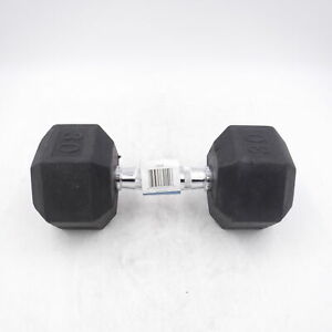Single 30lb Weider DRH30 Rubber Hex Dumbbell with Knurled Grip
