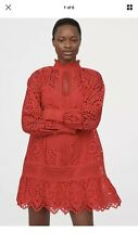 H&M TREND BRODERIE ANGLAISE TUNIC RED DRESS BLOGGERS SOLD OUT SIZE S UK 6 8 10