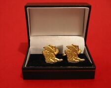 Country & Western Line Dancing Gold Plated Pewter Cufflinks Suit Any Occasion