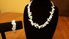 Genuine Freshwater Pearl & Turquoise Necklace & Bracelet Set.