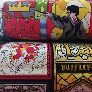 Harry Potter Glass Window Designs Cotton Fabric, Per Fat Quarter Camelot Fabrics
