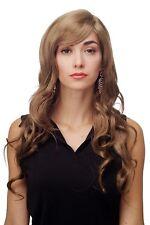Donna Parrucca marrone dorato RICCI MOSSI lunghi con riga di lato ca. 70 cm