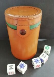 VINTAGE POKER DICE SET IN LEATHER CASE THROWING CUP MADE IN ENGLAND