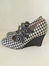 Habbot Stirling Houndstooth Black White Mary Jane wedge heels size  37 BNWOT