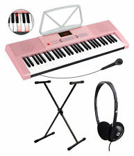 61 Leucht Tasten Keyboard E-Piano Lern Klavier Sounds Ständer Kopfhörer Set Pink