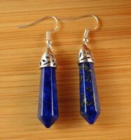 Lapis Luzuli Natural Gemstone Hexagonal Point Dangle Fashion Earrings #B60