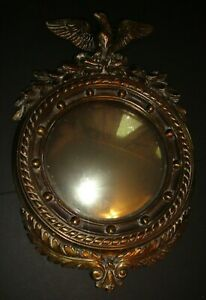 Bull's Eye Proud Eagle Convex Brass Mirror 13 Colony Federal Antique 16 Inch