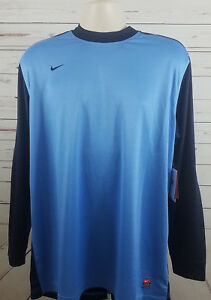 Nike Soccer Fit Dry Rio Long Sleeve Blue Padded Elbow Jersey Blue Shirt Large