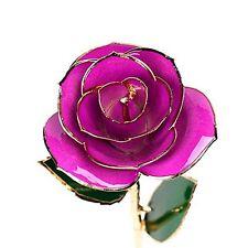 Gold Rose Dipped Flower 24K Real Long Stem Women Romantic Love Gift Purple NEW