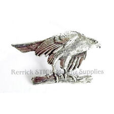 ONE PEWTER BADGE FOR WALKING STICK MAKING HAWK PERCHED ON BRANCH