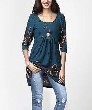 #208 Ladies Designer Size UK 6 Emerald Green Border Empire-Waist Tunic Dress NEW