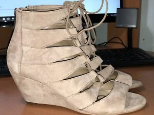 SIZE 7 1/2 SAM EDELMAN SANTINA LACE-UP WEDGE SANDAL IN OATMEAL SUEDE NEW