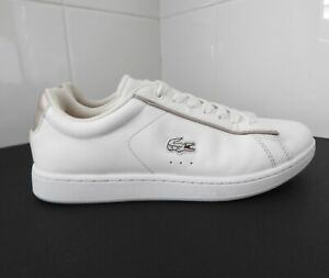 LACOSTE Carnaby Evo Ladies White Leather Sneakers Shoes Size 4.5 US 5 EU35.5