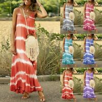 Womens Ladies Summer Casual Sleeveless Gradient Tie-Dye Striped Loose Maxi Dress