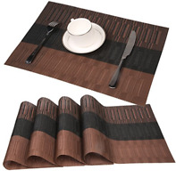 Bamboo Pvc Placemat Set Of 4 Table Mats Dark Brown Kitchen Dining Decor Cover