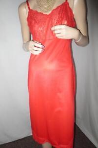 Vtg Hot Red Sexy Van Raalte Full Lingerie Slip, Lace Bodice 32A