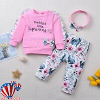 US Kid Baby Girl Long Sleeve Floral Tops+Leggings Pants+Headband 3PCS Outfit Set