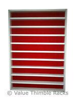100 thimble display- white wood - red felt backing