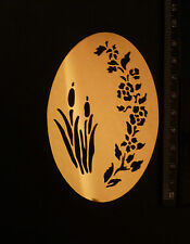 Brass/stencil/Oval/Floral/Flowers/Reed/Bulrush/emboss