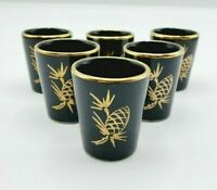 Set of 6 Black Shot Glasses with Gold Rim and Gold Pine Cone Design