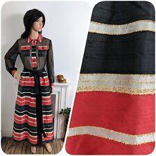 Vintage 60s Peter Barron Silk Stripe Red Black Glitter Evening Maxi Dress 10 38