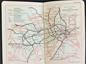 1918 Bacon's London Atlas & Guide 30pp Colour Maps/Underground Map 42pp Guide VG