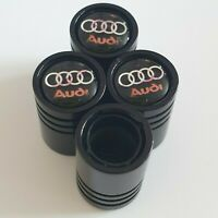 AUDI Matte black valve Tyre Dust Caps Plastic Inside all models Non stick