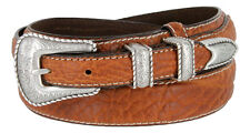 Western Silver Engraved Rope Edge Ranger Genuine Bison Leather Belt