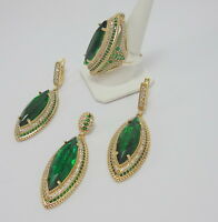 STERLING 925 SILVER HANDMADE JEWELRY MARQUISE CUT EMERALD GEMSTONE LADIE'S SETS