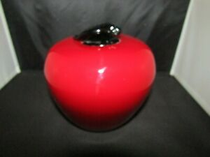 Vintage Glass Paperweight Red Apple with Green Leaf Large 6 inches