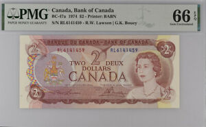Canada 2 Dollars 1974 P 86 Lawson/Bouey GEM UNC PMG 66 EPQ