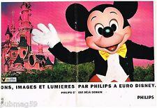 Publicité Advertising 1992 (2 pages) Euro Disney paris Disneyland avec Philips