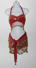 RED Velvet Belly Dance Outfit With Gold Coins (4-pc set)