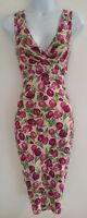 Womens Phase Eight Pink Green Floral Tulips Gathered Stretch Wiggle Dress 8 Vgc.