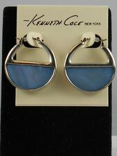 Kenneth Cole Silvertone DENIM DAYS Blue Shell Stone Hoop Earrings $32