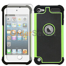 Hybrid Rugged Rubber Matte Case+Screen Guard for Apple iPod Touch 5 5th Green