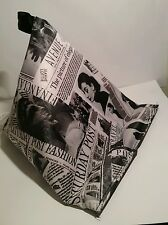 Wipe clean newspaper print pvc fabric Tablet stand cushion kindle ipad ebook