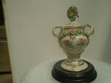 Lovely small German porcelain lidded urn with delicate porcelain flowers  LOOK