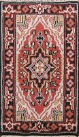 Hand-knotted Geometric Indo Heriz Oriental Area Rug Traditional Foyer Carpet 2x3