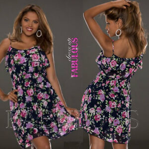 New Layered Floral Summer Dress Casual Party Evening Size 4 6 8 10 12 S M L
