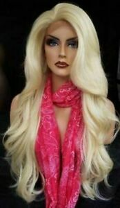 Lace Front Human Hair Wig Fashion Sexy Women's Long Platinum Blonde Wavy Wigs