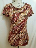 Susan Lawrence Womens Large L Top Short Sleeve Scoop Neck Polka Dot Multicolored