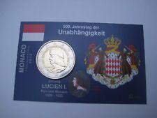 """2 Euro Gedenkmünze Monaco 2012 unc. """"Unabhängigkeit-Lucien I."""" - in InfoKarte"""