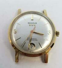 Vintage Benrus 3 Stars 25 Jewels Self Winding Date Gold Plated Swiss Watch Runs