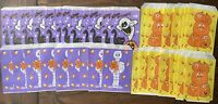 VTG 90's Ghost Black Cat Skeleton & Pumpkin 36 Count Halloween Treat Bags