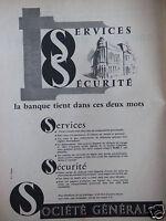 PUBLICITÉ 1958 SOCIÉTÉ GÉNÉRALE SERVICES SÉCURITÉ - ADVERTISING